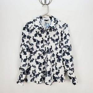 TOPSHOP | bunny print collared button down top